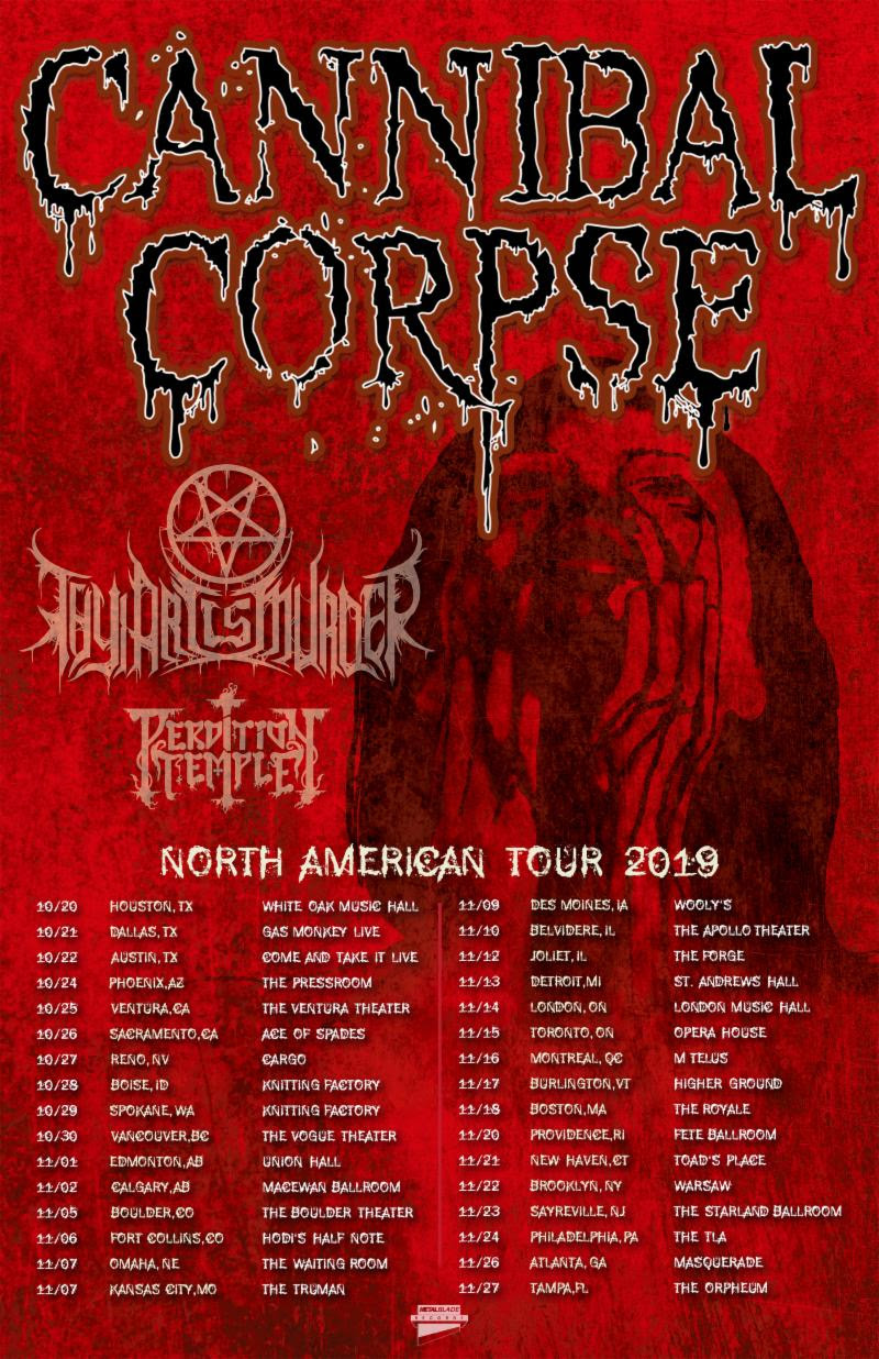 Maehem News: CANNIBAL CORPSE Announces North American Headlining Tour